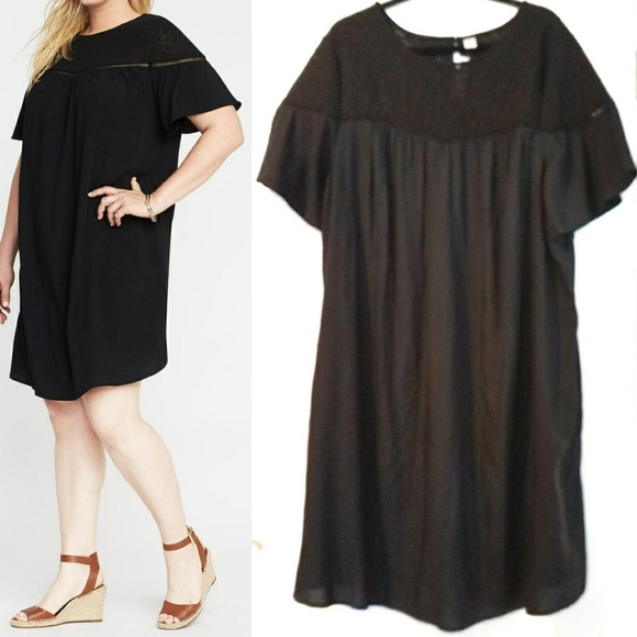 baa06447de12 Old Navy Dresses | 3x Plus Size Black Laceyoke Shift Dress | Poshmark